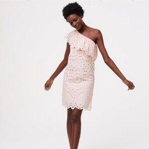 NWT LOFT Pink Eyelet One Shoulder Mini Dress
